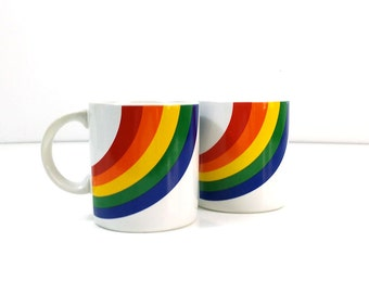 80s FTD Large Rainbow Coffee Mug