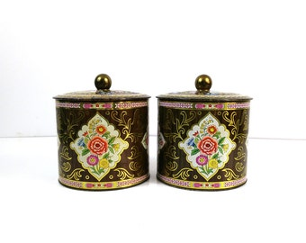 Large Faux bois Daher tins - brightly colored repousse containters - set of 2