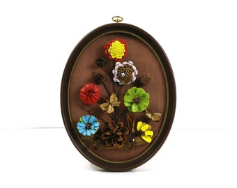 Vintage Framed Pinecone Art / Naturecraft / Painted Flowers