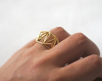Geometric Prism Cage 3d Printed Ring- 18k Gold Plated