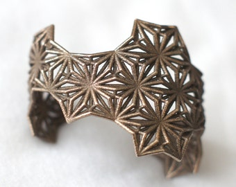 Sacred Geometry 3d Printed Cuff Bracelet- Polished Steel