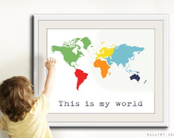 Kids wall art. World map print, childrens wall art. Kid playroom art. Colorful Map art for children, nursery art print by WallFry