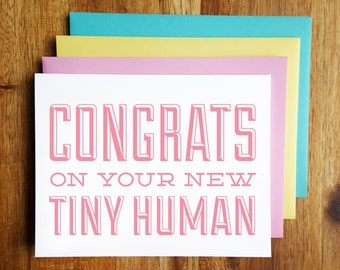 Funny Baby Card - Congrats on your New Tiny Human - Baby Shower - New Baby Congrats!