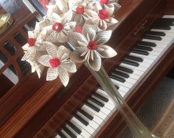 Bouquet of 12 Book Page Origami Paper Flowers on 12 Inch Stems