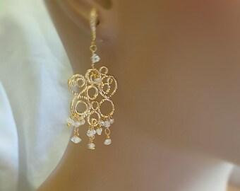 Herkimer Diamond Chandelier Earrings Gold Bubble Earrings Bridal Jewelry Statement Earrings