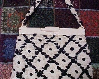Vintage 40s 50s Hand Punched Cotton Chenille Handbag Collectible Plastic Frame Purse