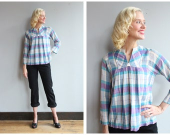 1970s Blouse // Indian Cotton Plaid Blouse // vintage 70s Fashion Council Blouse