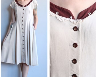 1950s Dress // Cookies & Cream Linen Dress // vintage 50s dress