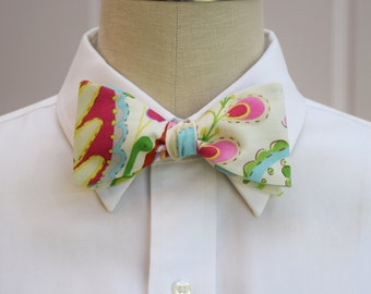 Men's Bow Tie in ivory with multi color floral Indian motif, wedding party bow tie, paisley floral bow tie, stylish wedding bow tie,