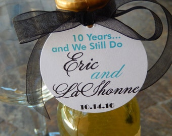 """50 Vow Renewal Anniversary Custom 2"""" Thank You Favor Tags - for Mini Wine or Champagne Bottles - Mason Jar Favors - Personalized  Tags"""