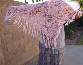 Vintage crochet shawl with fringe pink gold sparkle delicate romantic lace wrap