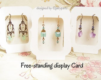 20-Zoe Window  2.5 x 3.5 Free-Standing•EARRING CARDS•Jewelry cards•Earring Display•Earring Card•Earring Holder•stud card•bulk