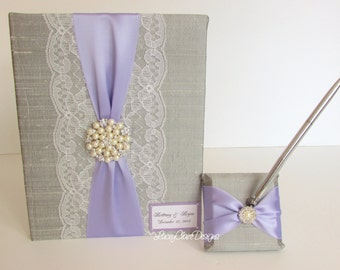 Wedding Guest Book Scrapbook and Pen Set - Custom Made to Order
