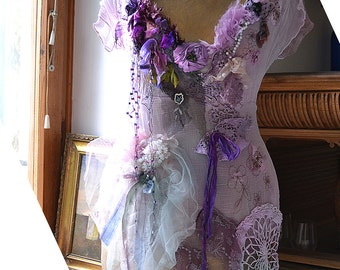 Lovely Unique Romantic Schabby Chic Pale Pale Lavender  Top/Blouse  LAVENDER ROSE Fairy Forest Tattered Boho