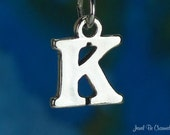 Letter K Charm Sterling Silver Alphabet Initial Capital Letters .925