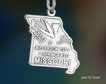 Sterling Silver Missouri Charm State America USA St Louis Solid .925