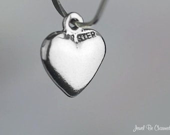 Miniature Sterling Silver Heart Charm Hearts Love Small Tiny Solid 925