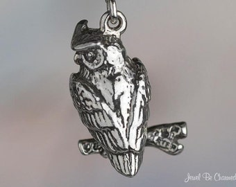 Owl Charm Sterling Silver Owls on Tree Branch Bird 3D Solid .925