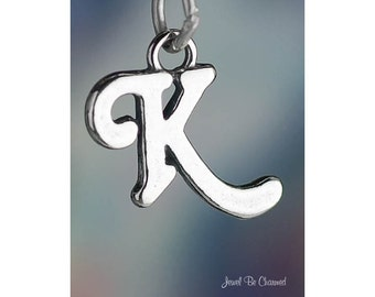 Sterling Silver Script Letter K Charm Initial Cursive Shiny Solid .925