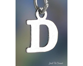 Sterling Silver Small Letter D Charm Initial Capital Letters Solid 925