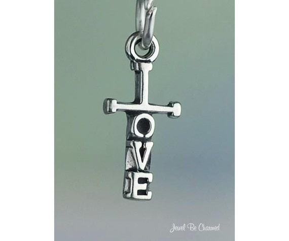Tiny Cross Charm Sterling Silver with the Word Love Christian Religion