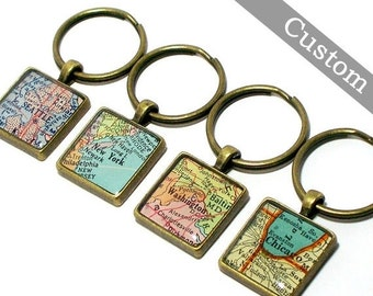 SALE CUSTOM Map Keychain. You Select Location. Anywhere In The World. One Map Keyring. Travel. Personalized.