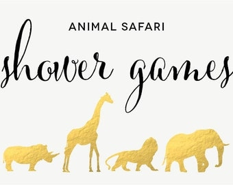 Safari Animal Baby Shower Games - Diaper Raffle, The Price Is Right, Bingo, In My Belly - Instant Download - Print Yourself