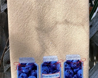 Kitchen Towel - Mason Jars on Burlap with Blueberries