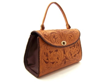 Large handbag purse with top handle, sienna tan hand-tooled leather, autumn brown sides, vintage women's country western accessory for fall
