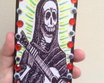 Death Wooden Key Holder - José Guadalupe Posada - Mexican Folk Art - Key Rack - Key organizer - Wall key holder - Dia De Los Muertos