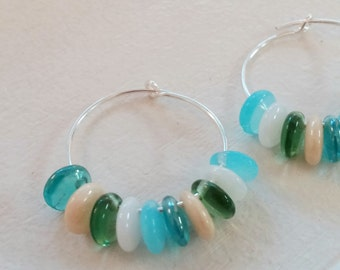 Multi-colored Beaded Hoops