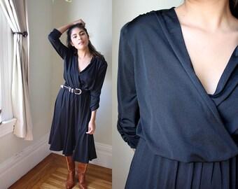 Vintage 80s Black Boho V Neck Quarter Sleeve Midi Dress w Full Skirt / S ~