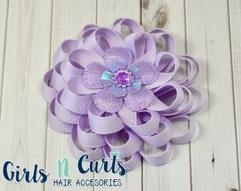 Boutique Style Loopy Flower Girls Hairbow Lavender