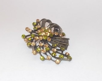 Vintage Green & Peach Color Rhinestone Pin/Brooch-Beautiful Bouquet of 'Flowers'-FREE SHIPPING!