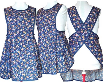 Plus size Apron, Cross back apron, No Tie Apron - Country Flowers on Navy - Made to Order sizes XL, 2XL, 3XL, 4XL