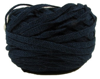 Organic Flat Braid, 100% Organic Cotton, 25 Yards, Hand-Dyed, Navy Blue