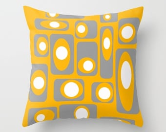 Yellow & Gray Pillow Cover, Modern Pillow Cover, Geometric Pillow Cover, MidCentury Modern Pillow Cover, Cool Pillow Cover , Retro Pillow