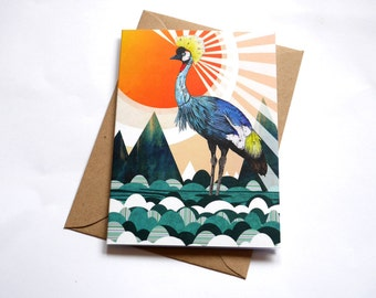 Crowned Crane // Greeting Card