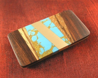 Mens Birthday Gift Turquoise Money Clip - Daddy Gifts for Dad Birthday Gifts for Him MC224