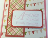 Adoption Card, Handmade Adoption Greeting Card, Adopting Baby Girl Card, Pink Adopting Card, Adoption Blessing Card