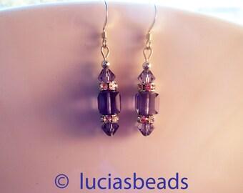 BEAUTIFUL Swarovski Crystal Earrings in Gorgeous Tanzanite