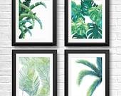 Tropical Leaf Prints, Tropical Leaf Art, Tropical Wall Decor, Banana Leaf, Beach House Decor, Palm Tree, Palm Tree Print, Fern, Set of 4