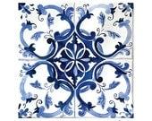 Blue and White Tile Pattern Art Print - Talavera Tile Art - Moroccan Tile Art Print - Mexican Tile art painting - Pattern Tile Art Print