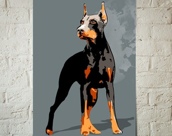 Doberman Pinscher, Dog, Art Print, Pop Art, Pet Decor, Poster sized Dog Decor, Dog Nursery decor, Pet Portrait, Gift for Pet Lover