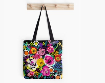 Bright and Colorful Summer Floral Painting painting tote bag. A beautiful mix of neon brights and pastel blooms. The perfect summer tote.