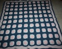 Crochet Baby, Lap, or Wheelchair Blanket/Afghan White and Gray with Pink Flowers/Raised Granny Square Afghan/Crocheted Gray Afghan