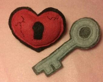 Heart & Key Barrette Set