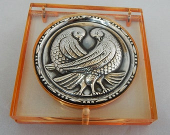 Peach Lucite & Sterling Silver Love Birds Powder Compact Mint
