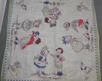 Antique Grace Drayton Nursery Rhyme Children's Handkerchief:  Roses Are Red Violets Are Blue    NS24