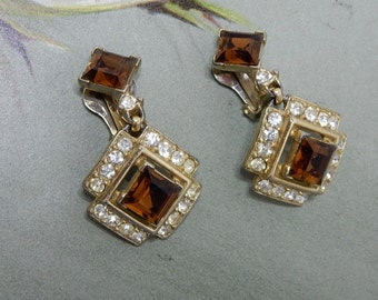 Signed BOGOFF Topaz Rhinestone Dangle Earrings    NBC13